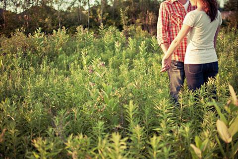 Paar in einer Wiese an Händen haltend