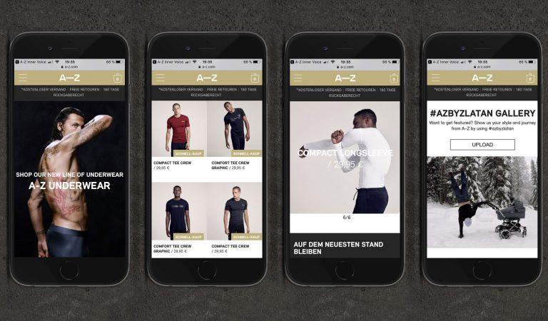 Vier Online-Shop Seiten von A-Z auf iPhones