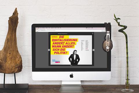 iMac mit Motiven der FDP-Wahlkampagne 2017 mit Kandidat Lindner